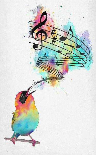 Красивый эскиз тату - скрипичный ключ, ноты и птица