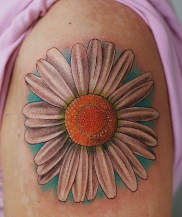 Татуировка с ромашкой, значение татуировки ромашка, фото тату ромашка