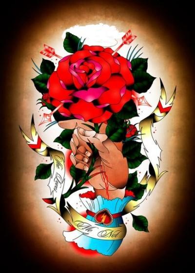 Цветной эскиз тату в виде розы в руках | Татуировку .РФ - фото и ...
