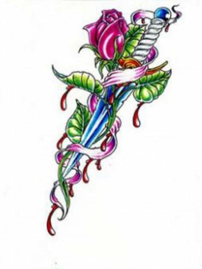 Эскиз тату цветка розы с кинжалом