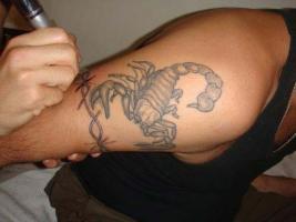 Тату скорпион на плече