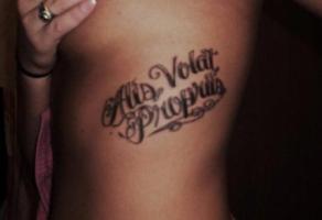 тату надпись alis volat propriis у девушки