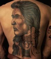 Тату голова индейца на всю спину