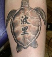 Тату черепаха с иероглифами на панцире