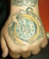 тату карманные часы с цепочкой на кисти