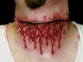 тату разрез на горле