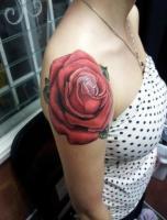 Тату большая красная роза - на плече у девушки