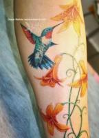 Тату колибри и лилии на предплечье
