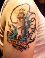 Тату маяк волны якорь и лента с надписью