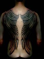 Тату красивые крылья на спине у девушки