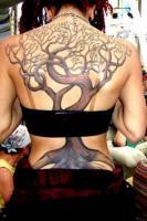 Тату дерево - на всю спину у девушки