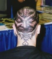 тату демон на голове