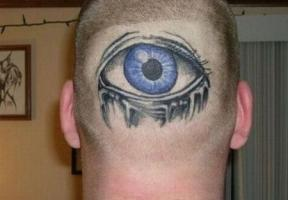 Тату глаз на голове, затылке