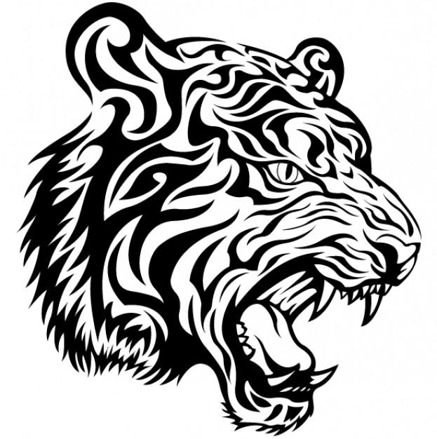 Эскиз татуировки трайбл тигр tribal tiger